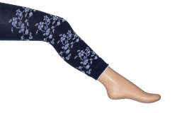 Bonnie Doon Legging White Flowers light navy